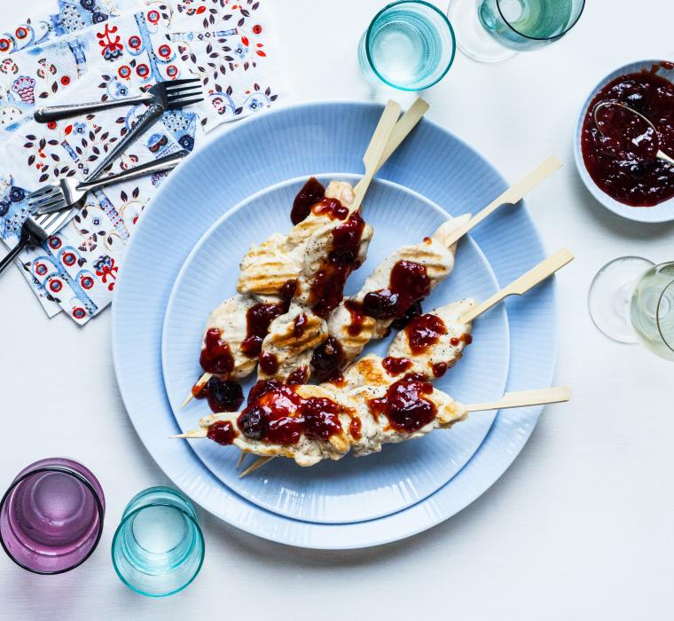 Chicken skewers with black cherry BBQ sauce